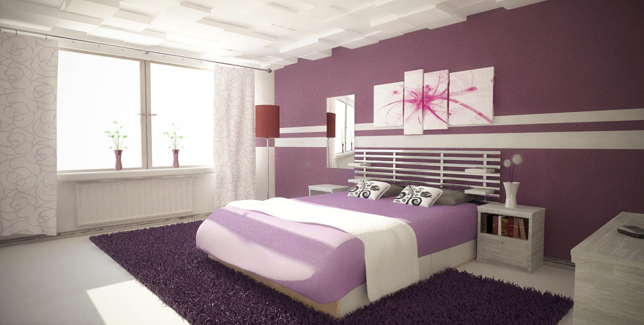 Purple Bedroom Daytime By Perbear42