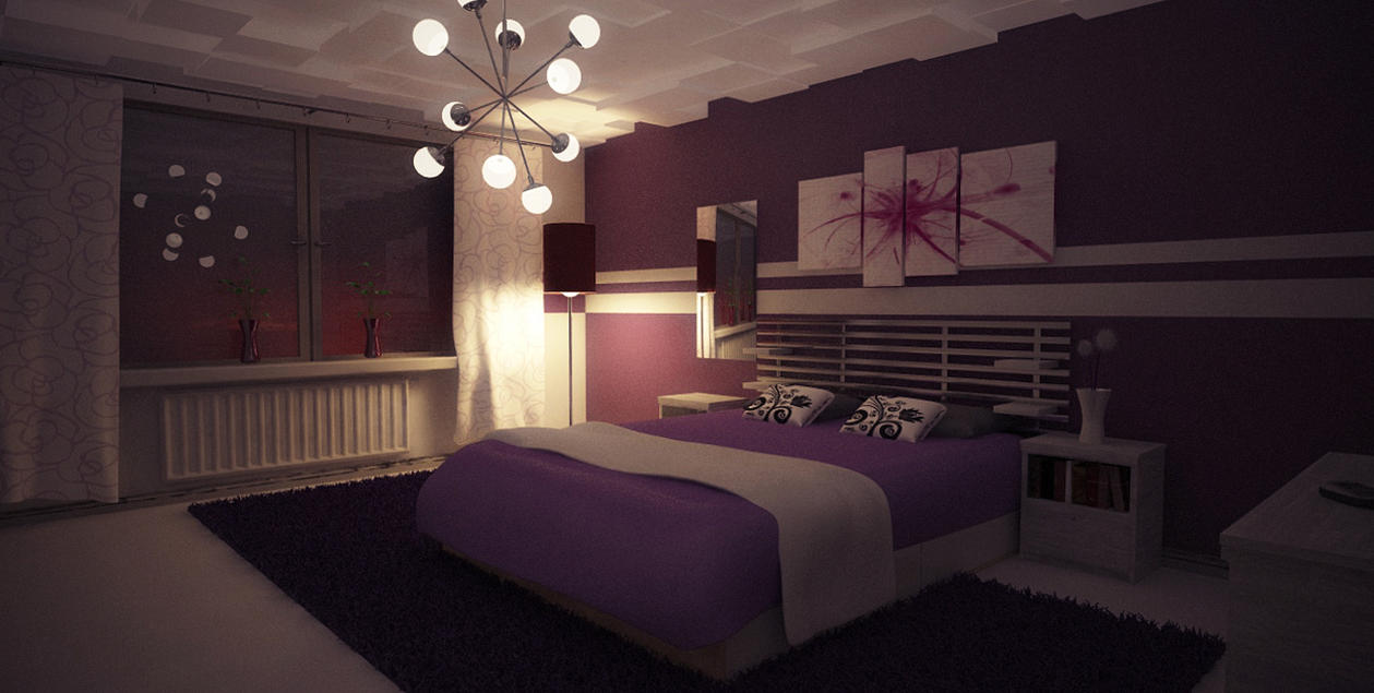Bedroom at night time - Purple Bedroom Nighttime By Perbear42