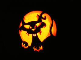 carved pumpkin cat by deidara4901