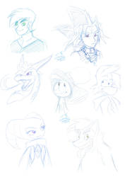a bunch of character sketches by Feniiku