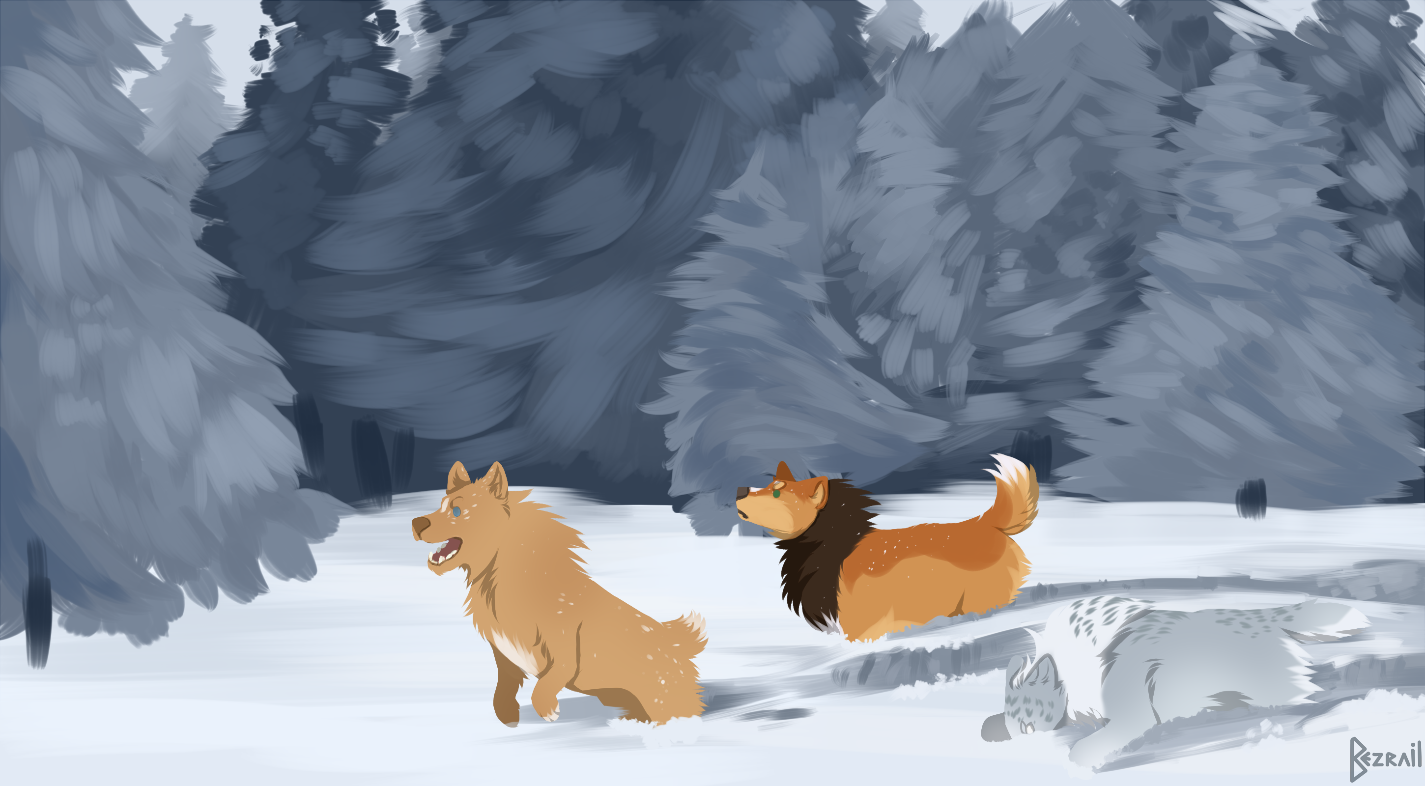 Stuck in the snow - Roll 3 for Furreon by Bezrail
