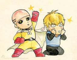Saitama and Genos by misha-dragonov