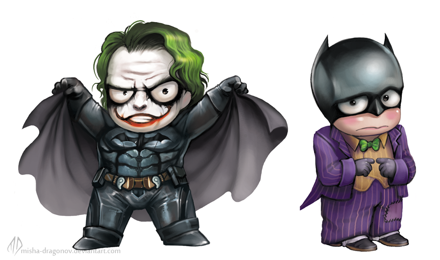 Chibi Joker and  Batman by misha-dragonov