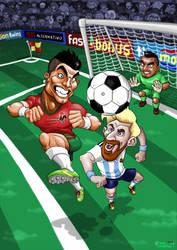 Portada juego de futbol con caricaturas