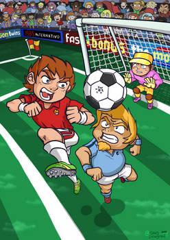 Portada juego de futbol estilo anime