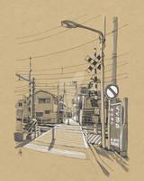 Railroad Crossing in Toshima City, Tokyo