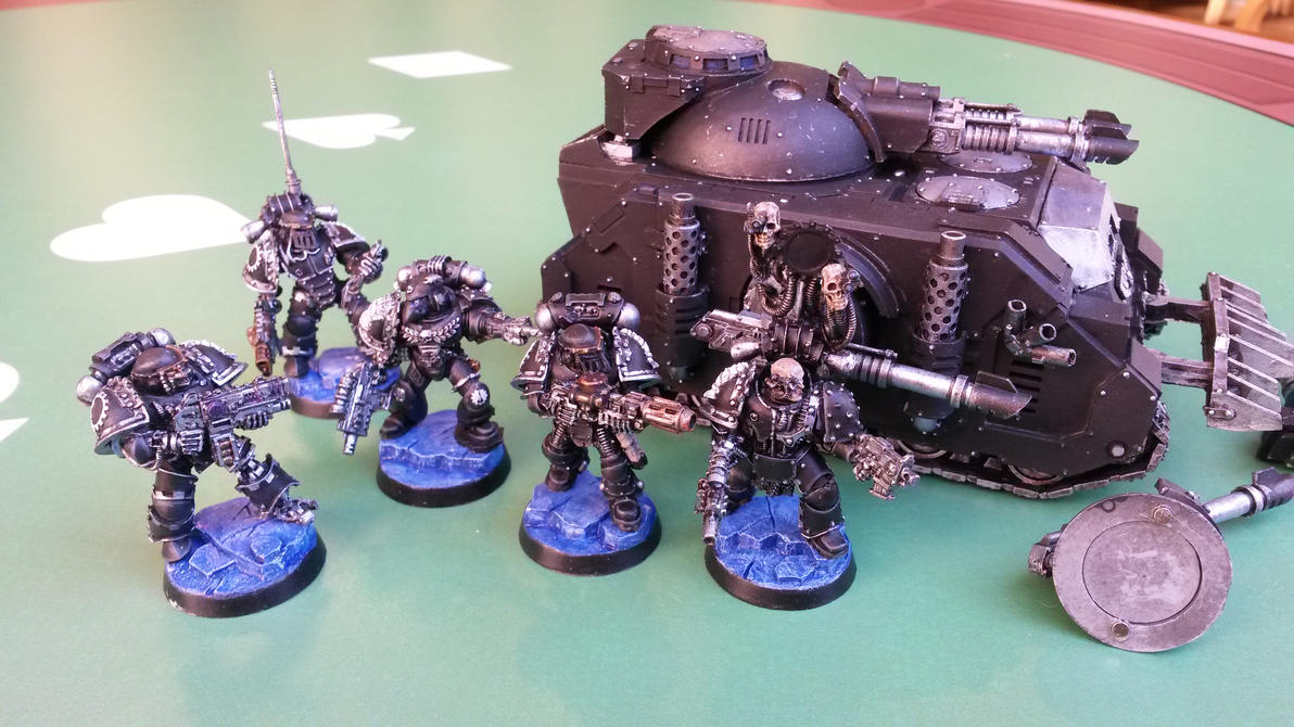 Sternguard Squad and Predator - WIP 4 by Allerka