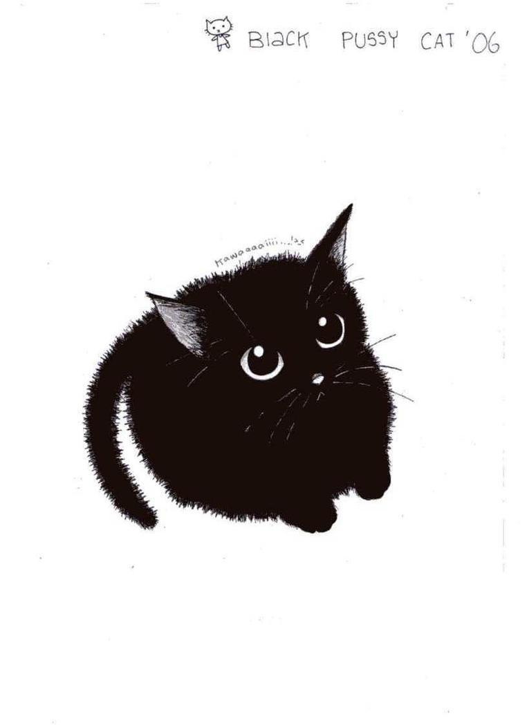 cute black cat by pinkmew on DeviantArt Tabby Cat Cartoon Drawing