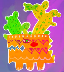 Grumpy Dino-plant Pot by Rowiehz