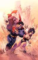 Superman Vs Wonderwomen by Eddy-Swan-Colors