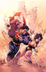 Superman Vs Wonderwomen by Eddy-Swan-Colors