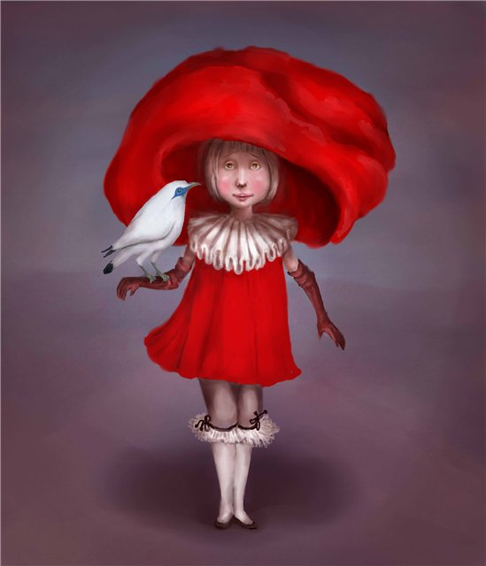 Red hat and white birdie
