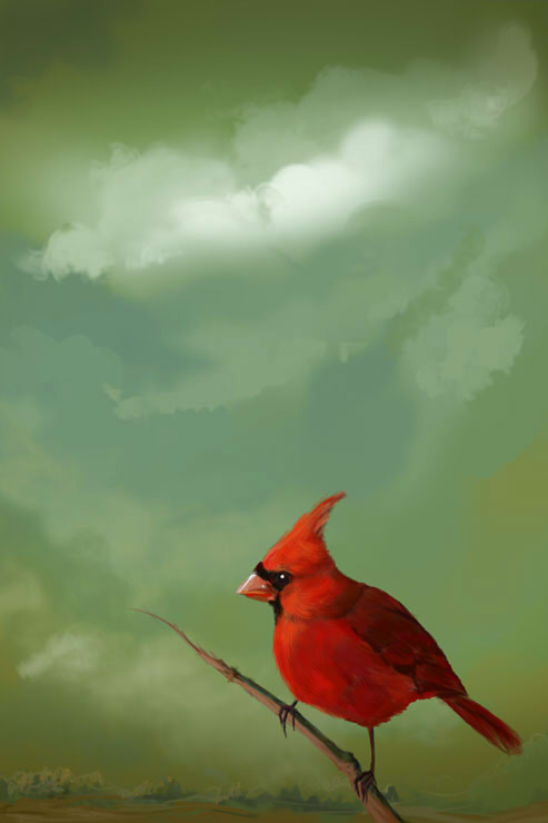 red bird and gloomy sky by Elena-nenz