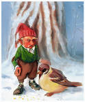 Gnome and bird
