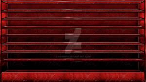 Red Glass Shelves Wallpaper