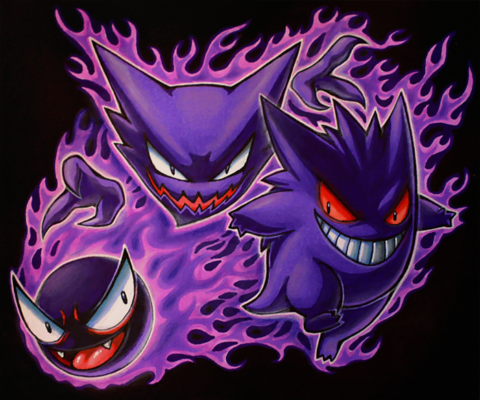 Gastly Haunter Gengar by Kawiku