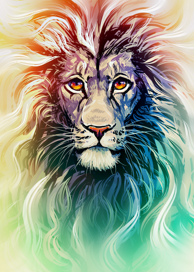 Lion Portrait by Kawiku