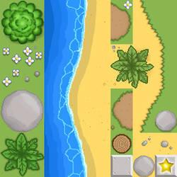 Beach and grass tileset