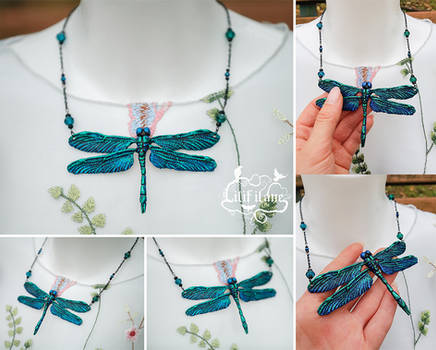 Dragonfly Necklace Green/Blue