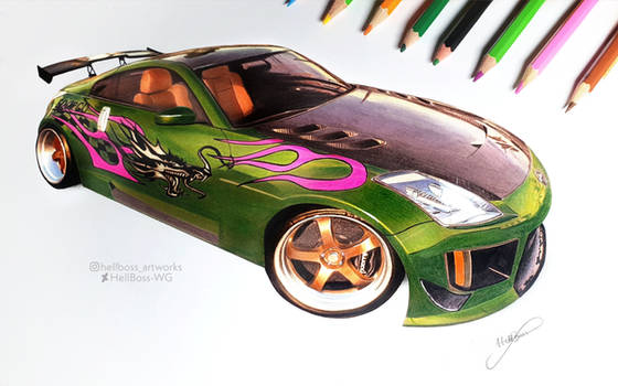 Drawing of Rachels 350z from NFS Underground