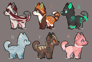 Colorful Dog Adopts2 3/6 OPEN by LittleViolenca