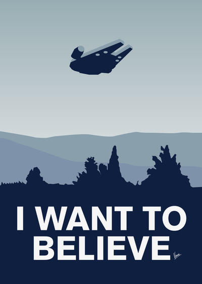 My I want to believe poster-millennium falcon by Chungkong
