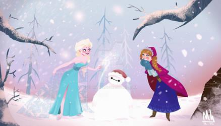 Elsanna and Snow Baymax