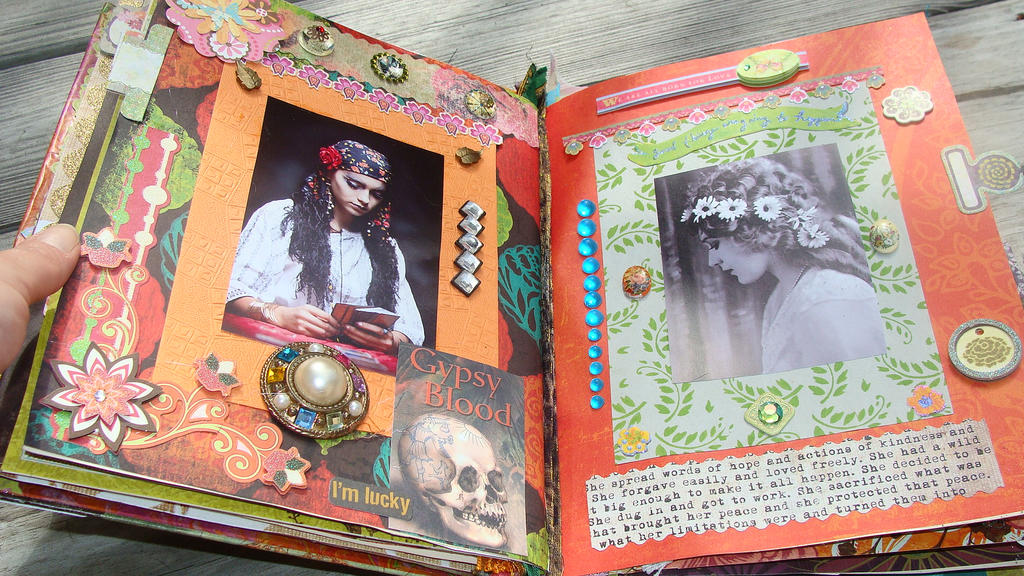 Art Book Cover Collage ~ Gypsy bohemian collage art book by hmv on