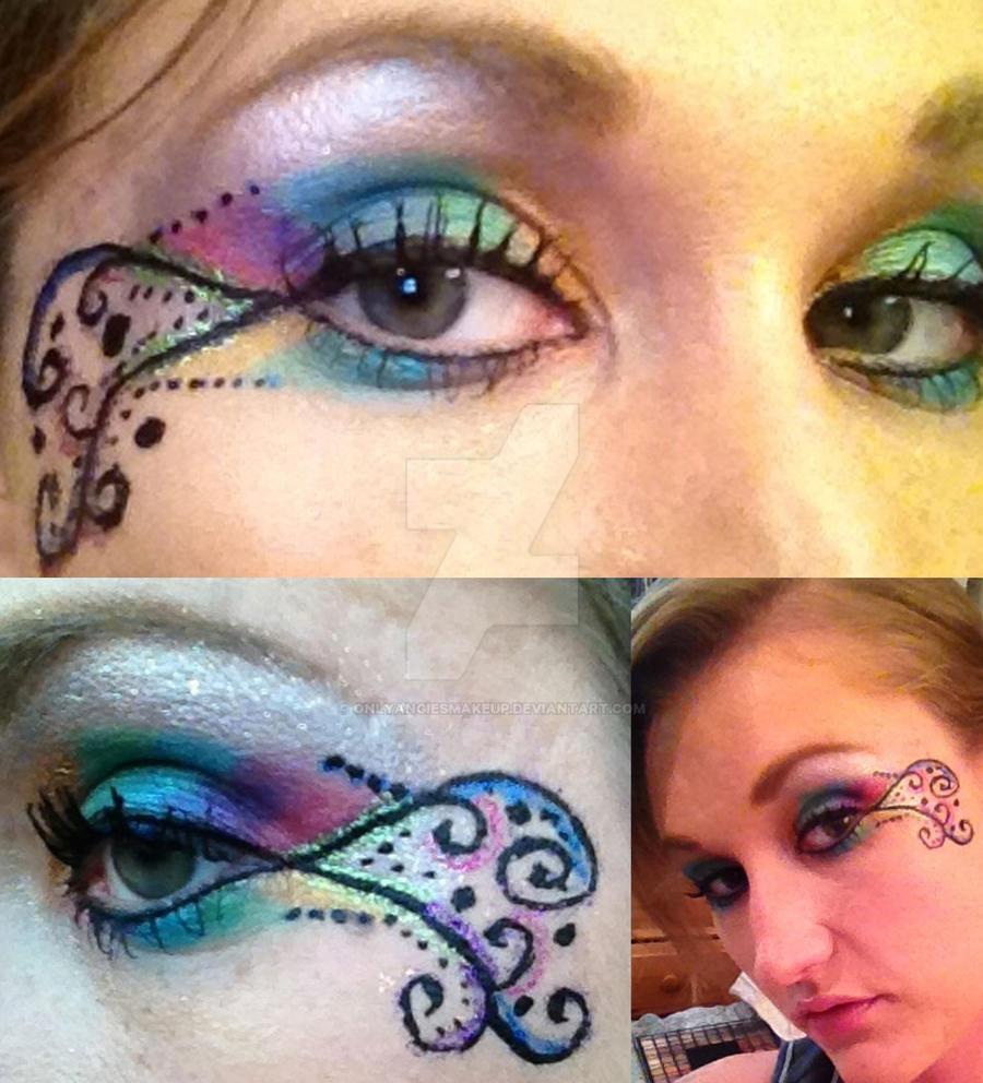 rainbow swirl eye makeup design by onlyangiesmakeup on
