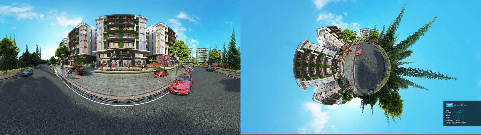 Panorama 3D street GoProVR
