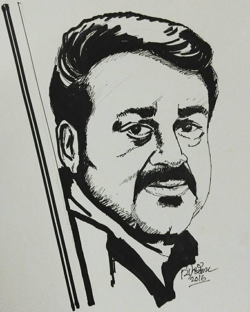 Mohanlal drawing by vishnuaranmula