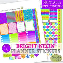 Bright Neon Printable Planner Stickers by GreenLightIdeasGLI