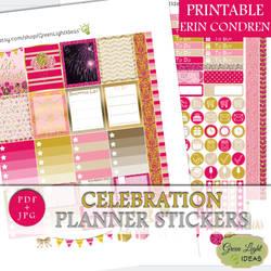 Celebration Printable Planner Stickers by GreenLightIdeasGLI