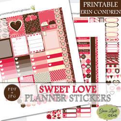 Sweet Love Printable Planner Stickers by GreenLightIdeasGLI