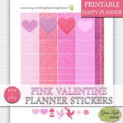 Pink Valentine Happy Planner Stickers by GreenLightIdeasGLI