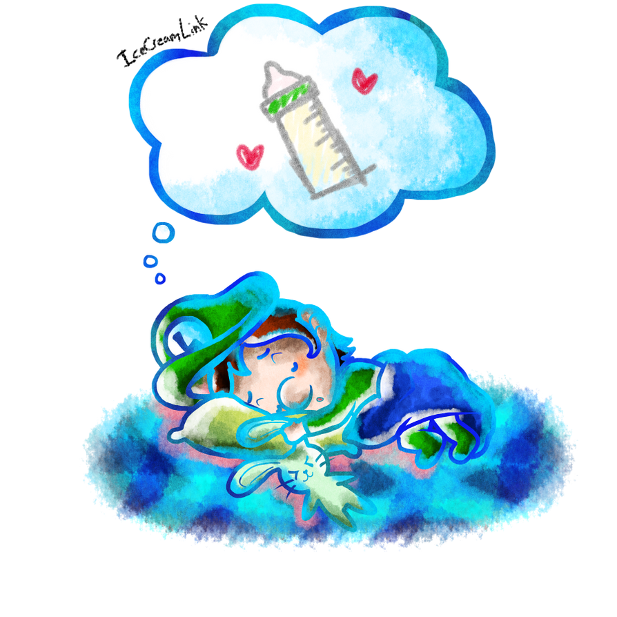 dreaming baby luigi by icecreamlink