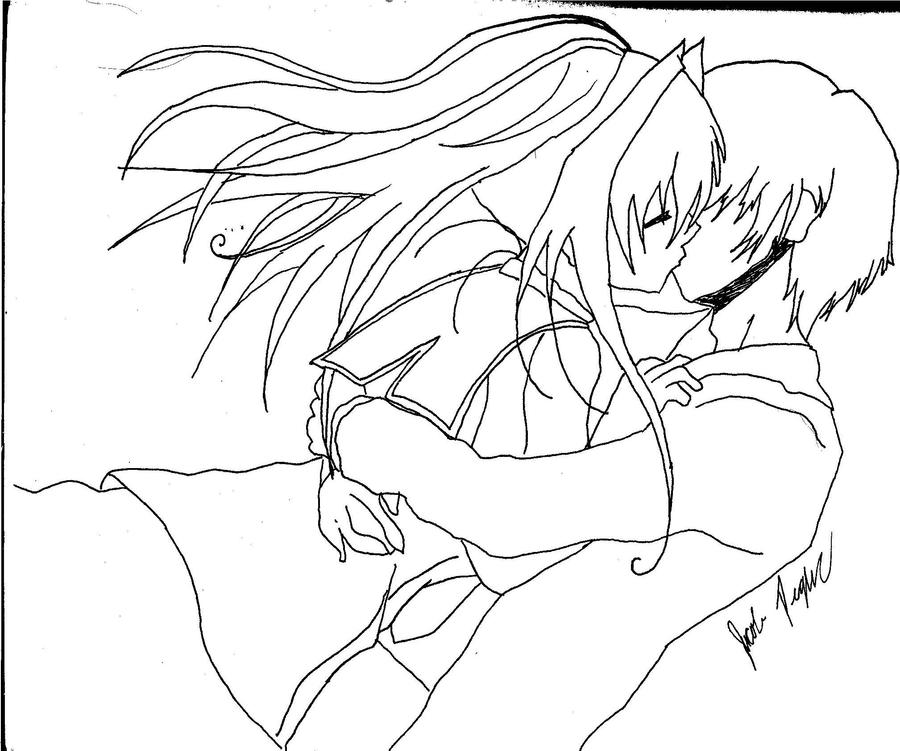 anime couple coloring pages kissing - photo#9