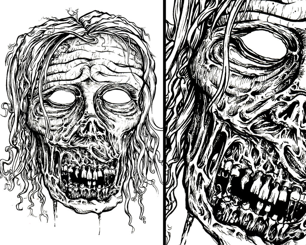 Zombie Face Line Drawing : Zombie ink: walking dead inspired by laesir on deviantart