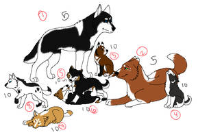 Wolf/huskey family adoptables (2 left only 2 point by xWolfObsessionx