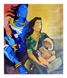 Shiv-Parvati with Lord Ganesha by IndianPaintingsOnlin
