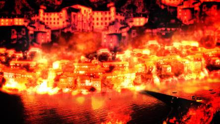 Burning City Matte Painting