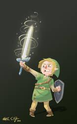 Link has a sword.