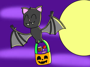 Cute Flying Bat Holding Halloween Candy