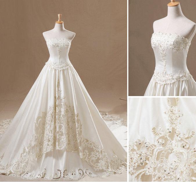 Beautiful Ivory Strapless Wedding Dresses By Weodress On DeviantArt - Anime Wedding Dress