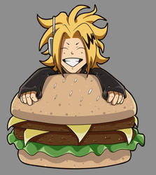 Chibi kaminari with burger by GamingHedgehog