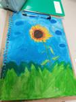 Sunflower portrait watercolour painting