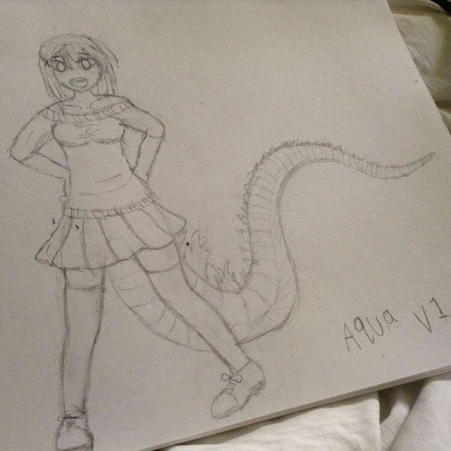 My first attempt at drawing my Oc self sketche by aquadesrtoyer