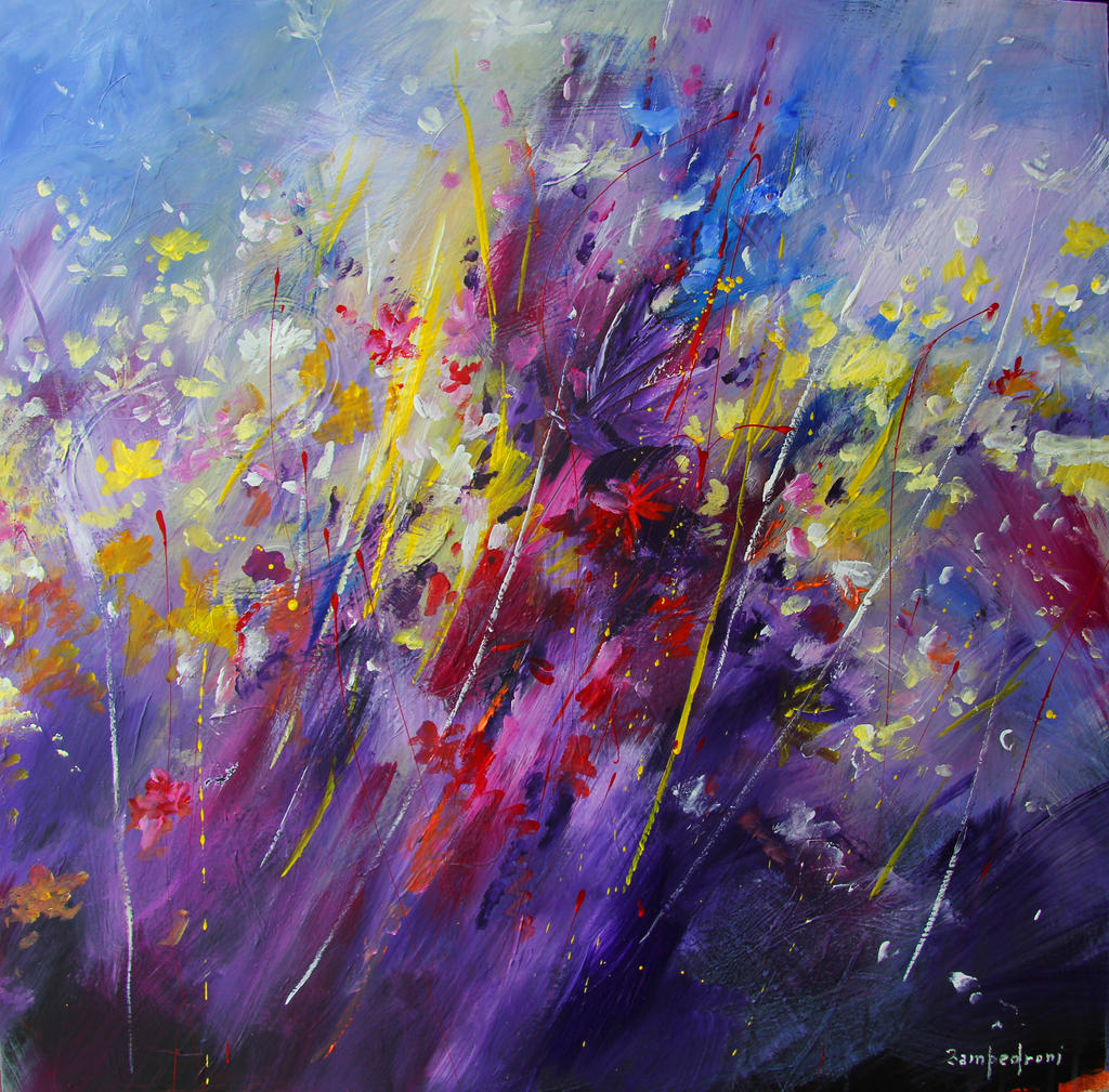 The gallery for abstract acrylic paintings of flowers for Flower paintings on canvas