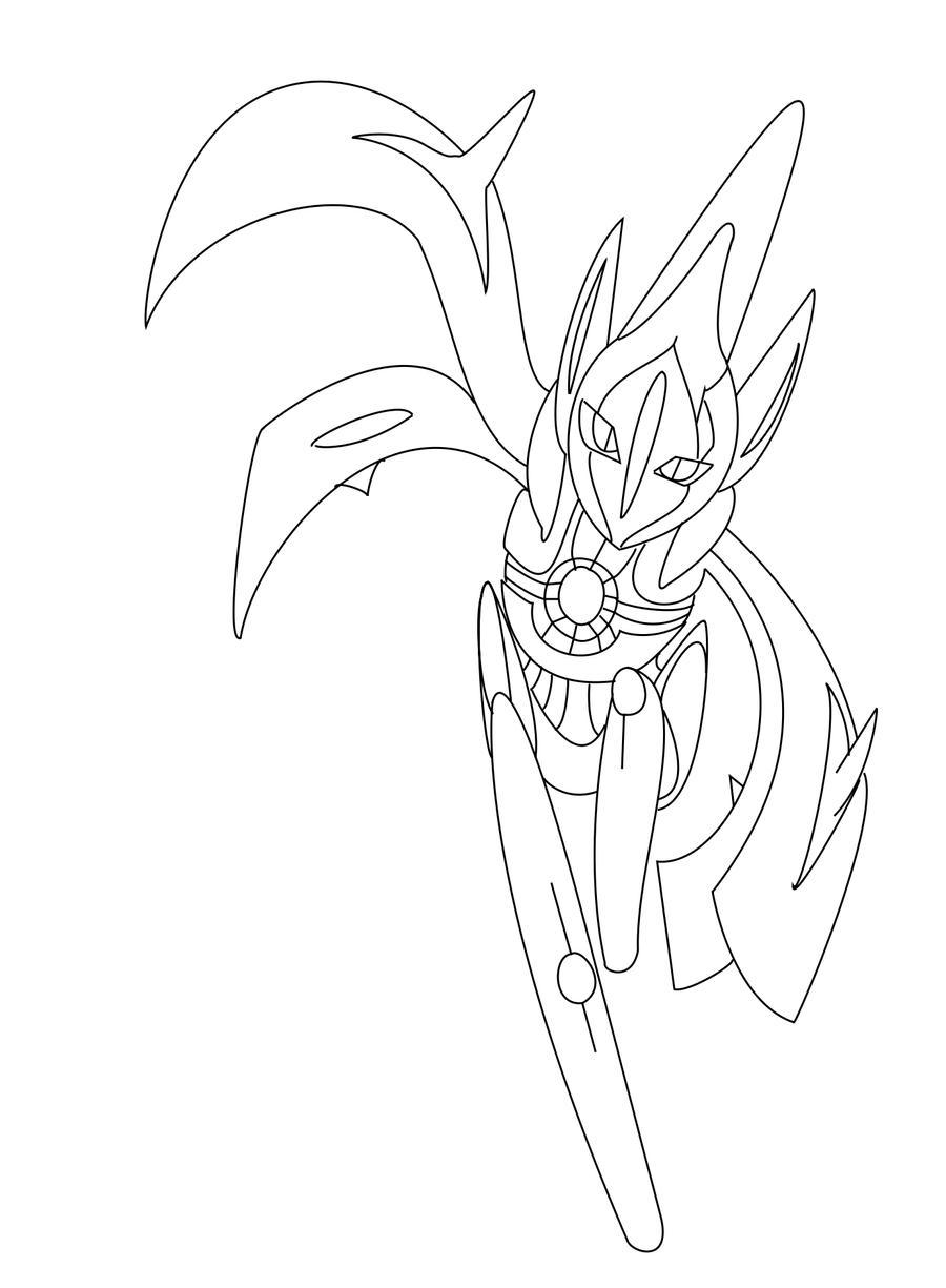 Pokemon coloring pages deoxys ~ Deoxys- Ultima form Line art by xXlSalimuslXx on DeviantArt
