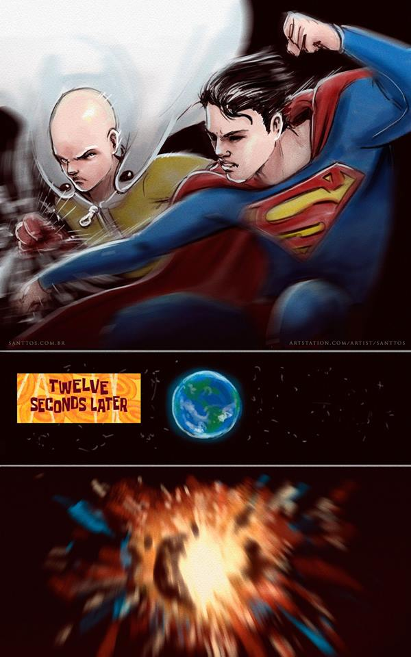 Saitama vs Superman by santtos-portfolio